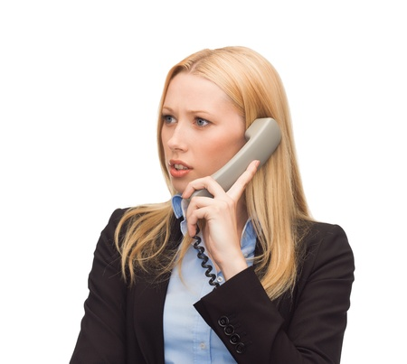 bright picture of confused woman with phone Stock Photo - 20772121