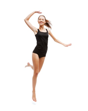 cotton panties: sport and health care concept - beautiful girl jumping in black cotton underwear