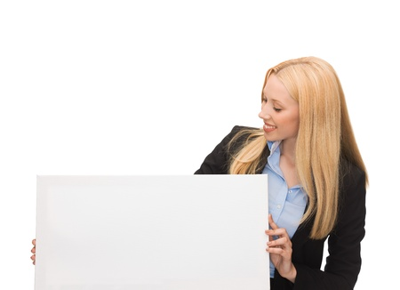 happy smiling businesswoman with white blank board photo