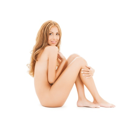 picture of attractive naked woman with long hair sitting on the floor Stock Photo - 20859685