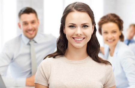 group  accountant: business concept - attractive young businesswoman in office