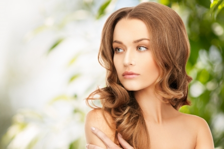 skin care: beauty, hair and eco cosmetology - beautiful woman with long hair