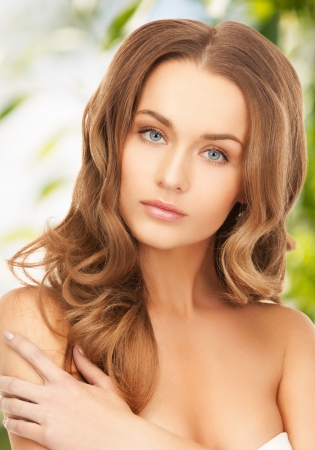 beauty, hair and eco cosmetology - beautiful woman with long hair photo