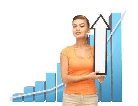 increment: business concept - young woman with rising graph and arrow directing up