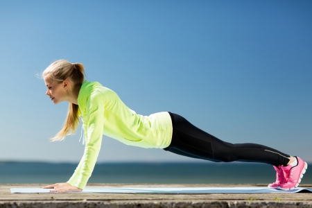 push: woman doing exercise outdoors