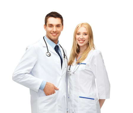 physiotherapists: healthcare and medical concept - picture of two young attractive doctors