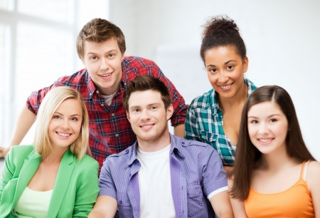 education concept - group of students at school Stock Photo - 21034797