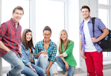 education concept - group of students at school Stock Photo - 21034810