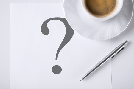 business concept - note with question mark and coffee photo