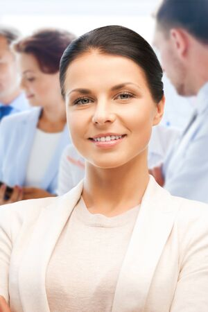 business concept - attractive young businesswoman in office Stock Photo - 21164208