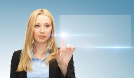digi: business and future technology - attractive businesswoman touching virtual screen