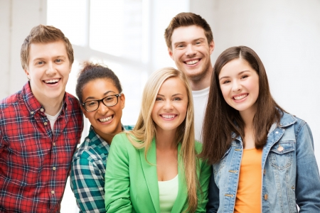 college campus: education concept - group of students at school