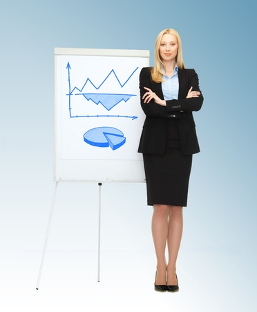business, finances and economics - businesswoman with graphs on the flipchart photo