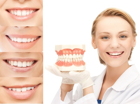 stomatology: healthcare, medical and stomatology concept - doctor with jaws and smiles