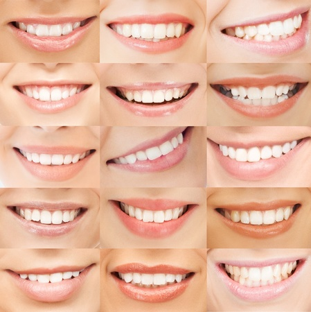 perfect teeth: healthcare, medical and stomatology concept - examples of female smiles