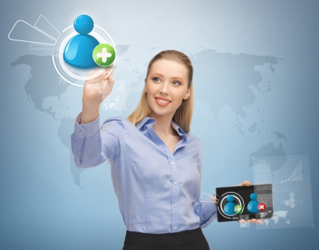 digi: future, technology and communication - woman pressing button on virtual screen with contact icon Stock Photo