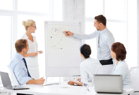 business concept - business team working with flipchart in office Imagens