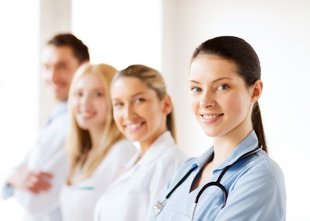 healthcare and medical - young team or group of doctors Stock Photo