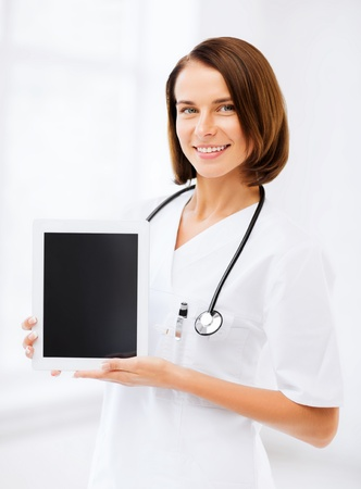 doctor tablet: healthcare and medical concept - female doctor with tablet pc