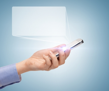 digi: business, future technology and internet - man hand with smartphone and virtual screen Stock Photo