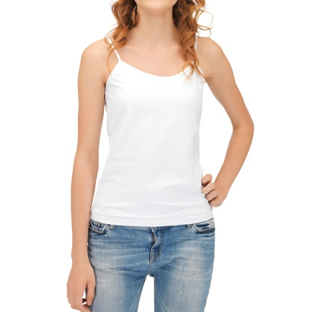 tank top: t-shirt design concept - woman in blank white tank top
