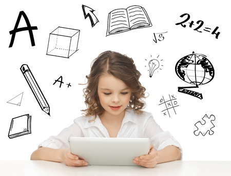 education, technology and internet concept - beautiful student girl playing with tablet pc photo
