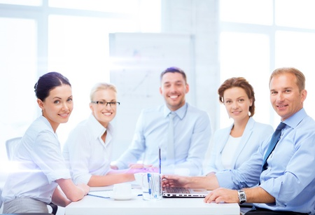 members: business and office concept - business team having meeting in office