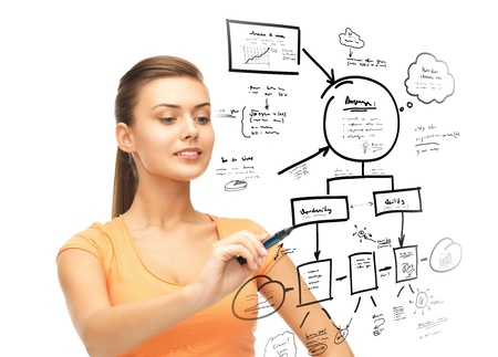 education and technology concept - smiling student making sketches on virtual screen Stock Photo - 21574414