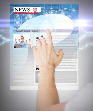mass media: business, technology, internet and news concept - man with virtual screen reading news