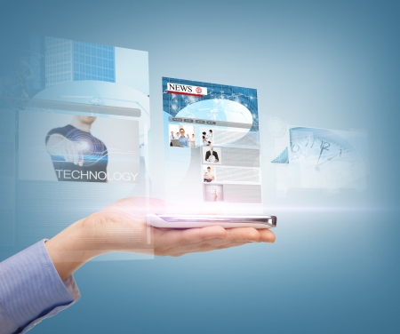 digi: business, technology, internet and news concept - woman hand showing smartphone with news app Stock Photo
