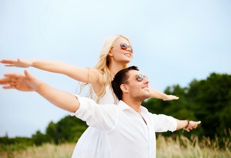 summer holidays, celebration and dating concept - couple at seaside photo