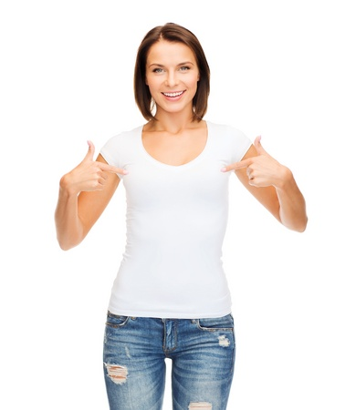 t-shirt design concept - smiling woman in blank white t-shirt Stock Photo