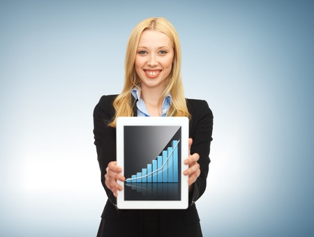 business and technology concept - businesswoman showing tablet pc with graph photo