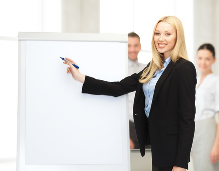 bussiness, meeting and education - businesswoman with flipchart in office photo