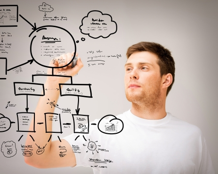 planning diagram: business, education and technology - young man drawing plan on the virtual screen Stock Photo