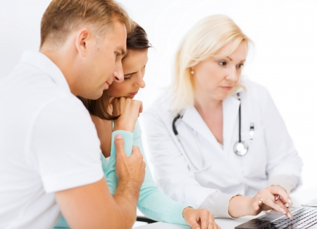 disease patients: healthcare, medical and technology - doctor with patients in hospital