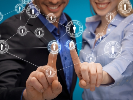 contact info: business, technology, internet and networking concept - man and woman working with virtual screen