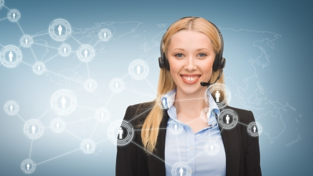 business, communication, technology and call center - female helpline operator with headphones and virtual screen photo