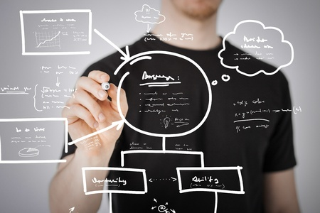 business, education and technology - man drawing plan on the virtual screen photo