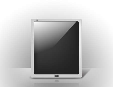 business and technology concept - tablet pc with blank black screen Stock Photo - 21945705