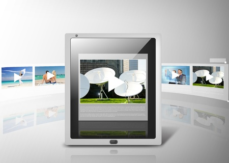 digi: business, technology and video concept - illustration of tablet pc with video player app