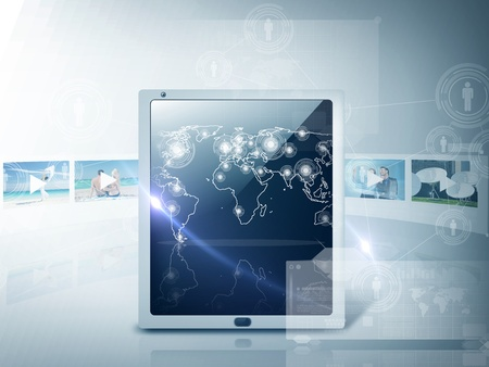 playback: technology and internet concept - illustration of tablet pc with map and footage