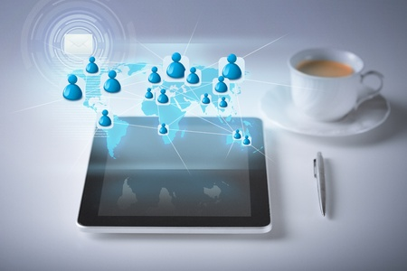 technology, internet and networking concept - illustration of tablet pc with contact icons illustration