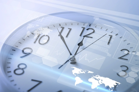 second meal: future technology and time management concept - clock and virtual screen