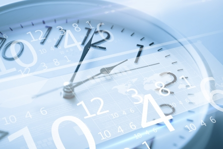 day time: future technology and time management concept - clock and virtual screen