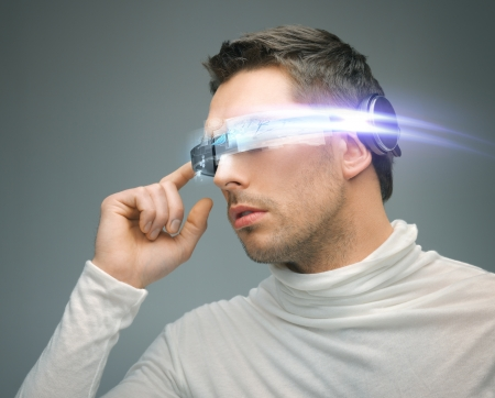 digi: future technology and science fiction concept - man with digital glasses