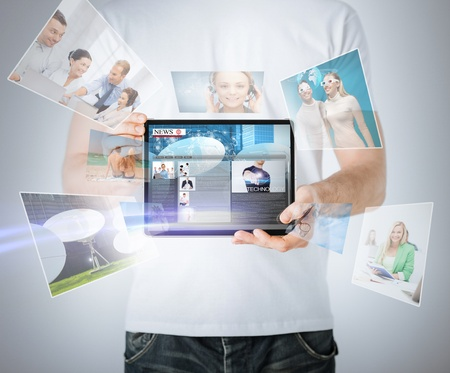 media gadget: business, technology, internet and news concept - man showing tablet pc with news app