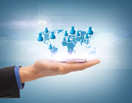 business, technology, internet and networking concept - man hand with smartphone and virtual screen photo