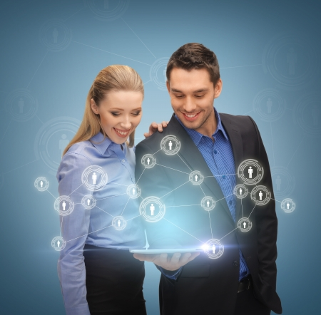 hologram: business, technology, internet and networking concept - business team with tablet pc and virtual screen Stock Photo