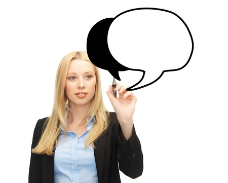 communication and business concept - businesswoman drawing blank text bubble photo